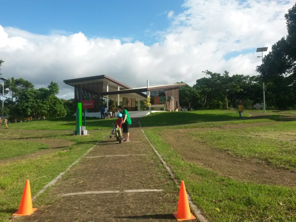 The paved pathway to the Reception Hut is also the Scoot to Pedal training ground.